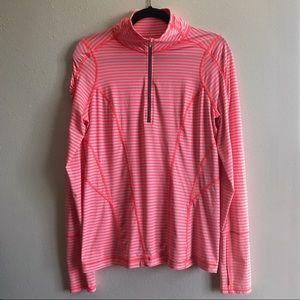Zella Run Stripe Half Zip Pullover Top Neon Pink